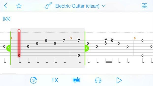 screenshot of Songsterr app