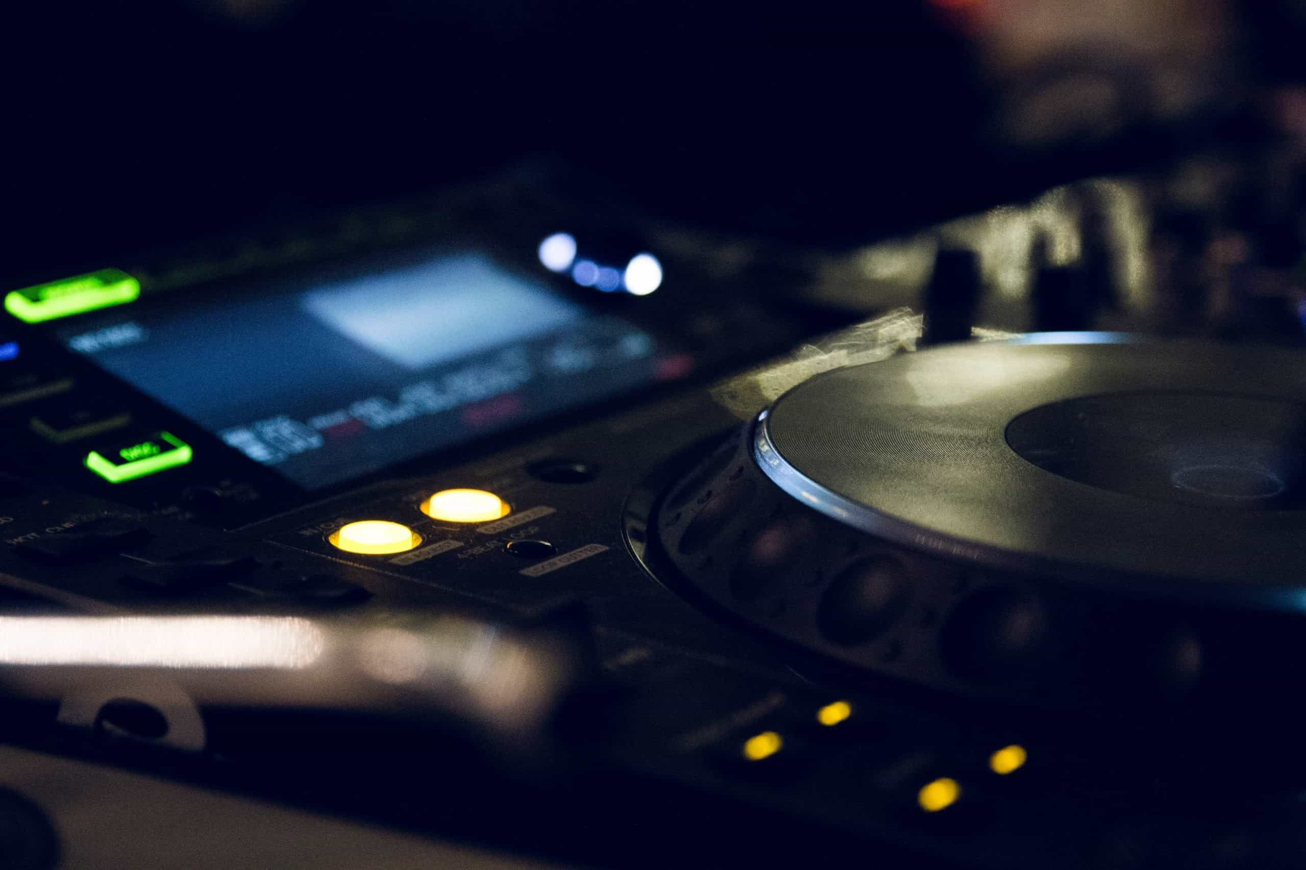 DJ turntable in close-up
