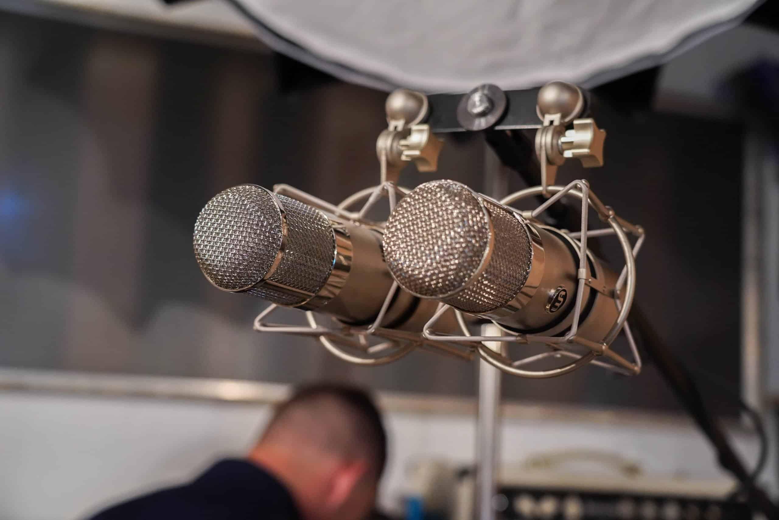 2 gray microphones macro photography