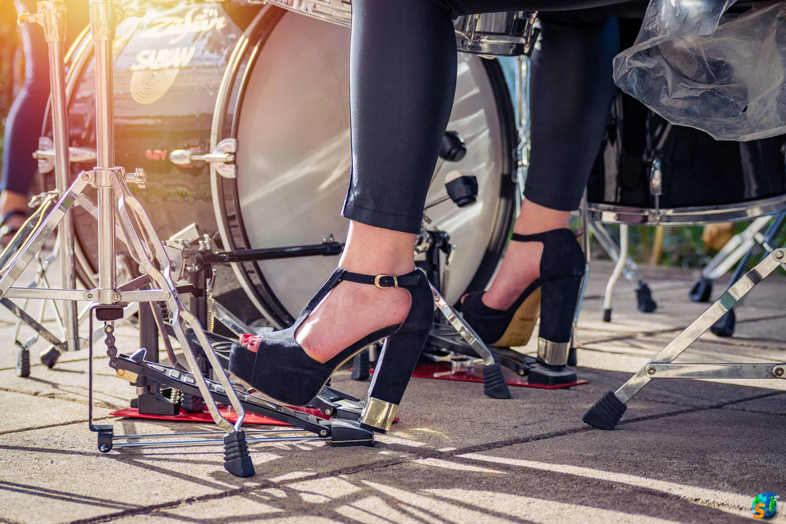 Woman Drummer. High Heels